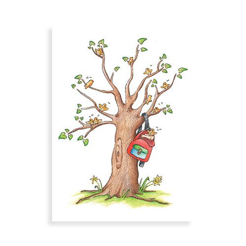 Geslaagd: schooltas in de boom