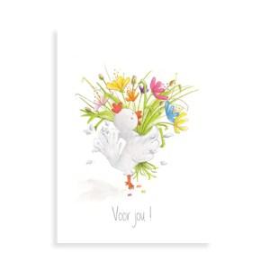 Afbeelding van de wenskaart met de kip en het vrolijke boeket