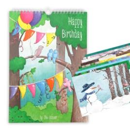 Verjaardagskalender + set van 13 kaarten: vogeltjes