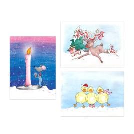 Set van 3 kerstkaarten, thema: dieren