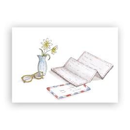 Afbeelding wenskaart brief met bril