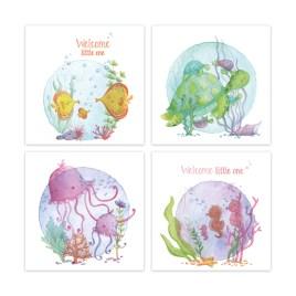 Set van 4 wenskaarten | Geboorte | Onderwaterdieren