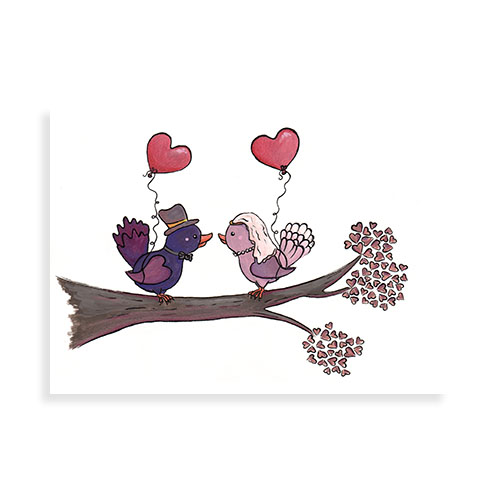 Getrouwde vogeltjes met hartjesballonnen