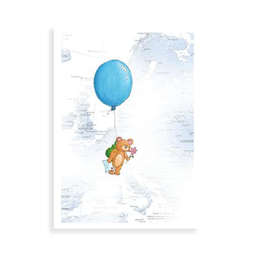 """Voorkant wenskaart """"Beertje met ballon"""""""