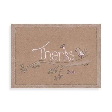 "Voorkant kaart ""Thanks vogeltje"""