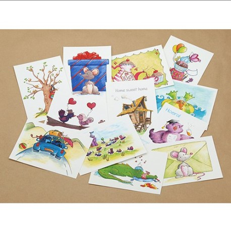 Setje 12 ansichtkaarten: Diverse thema's