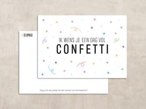 Kaartje happy colors ik wens je een dag vol confetti
