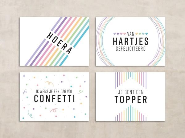 Happy colors set van vier kaartjes