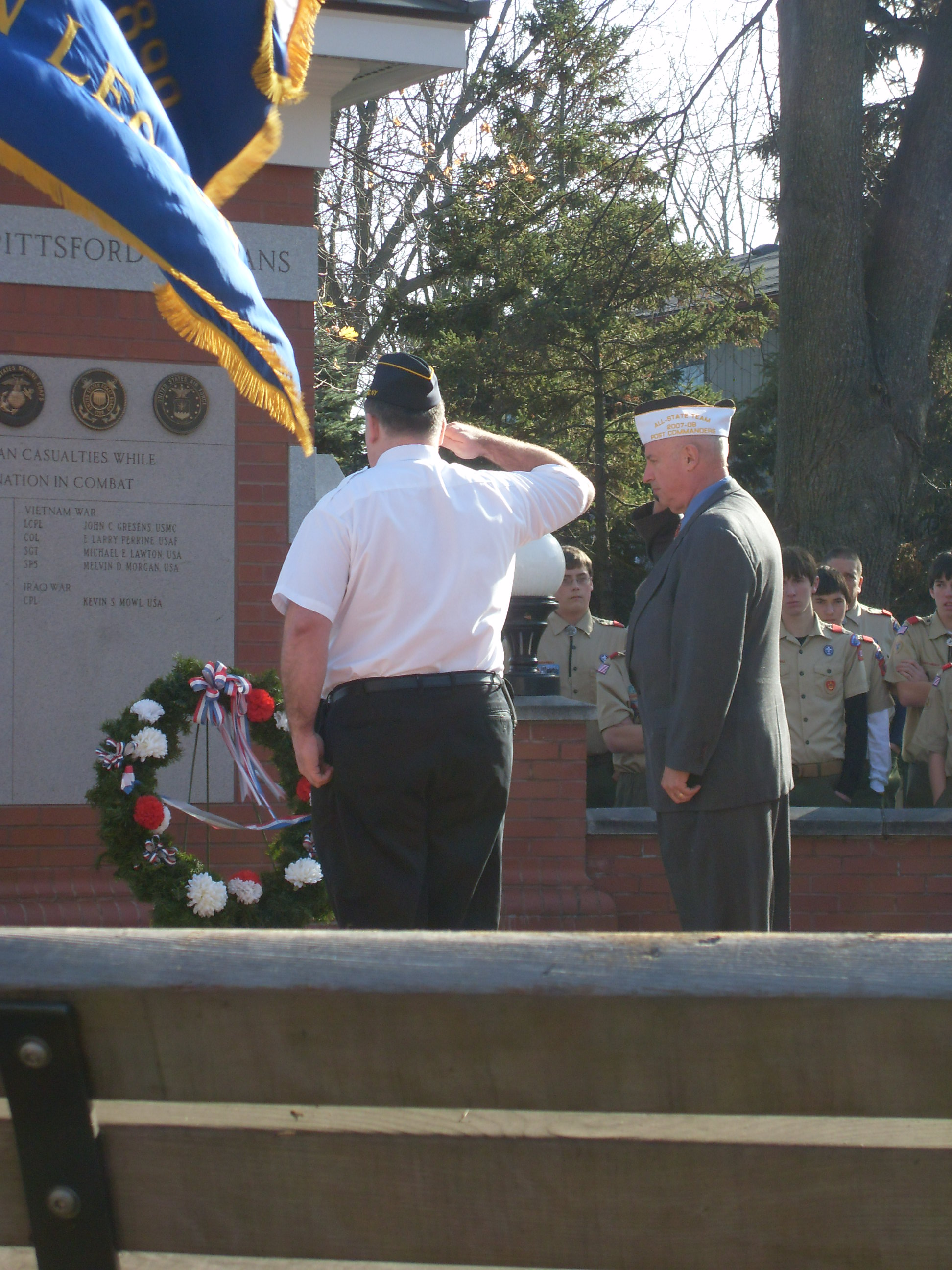 Laying the wreath at Port of Pittsford Park