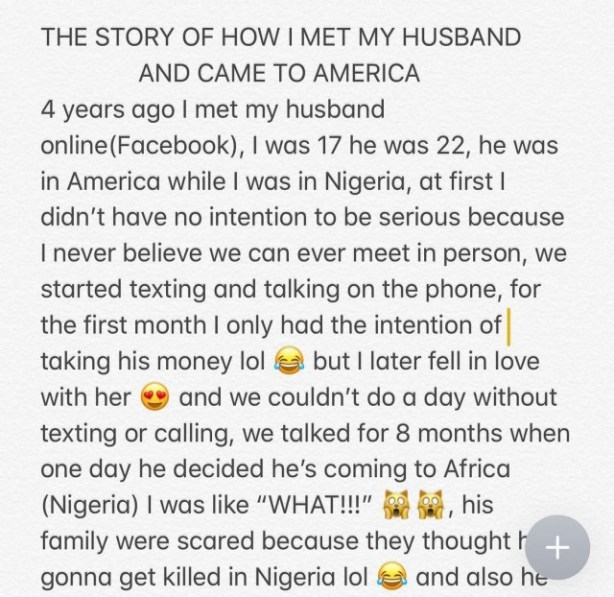 Nigerian Lady Narrates How An American Man She Wanted To Scam On Facebook Became Her Husband