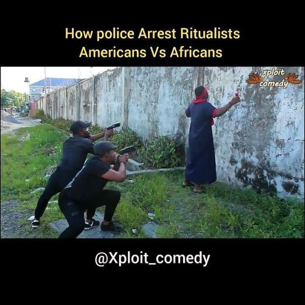 COMEDY VIDEO: Xploit Comedy – How Police Arrest Ritualists In America Vs Naija