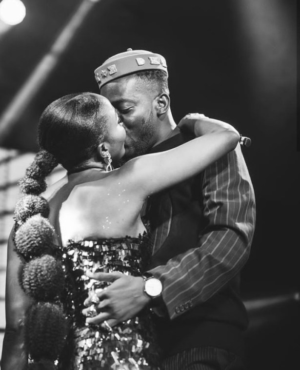 """Your love is overwhelming"" – Simi tells Adekunle Gold after they share a kiss on stage (photos)"