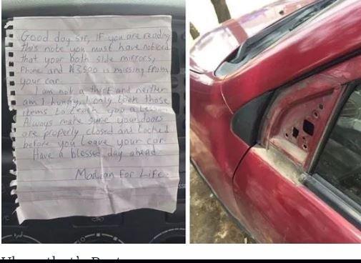 Marlian Leaves 'Warning Note' After Robbing Man's Car