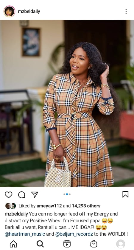 You can't l feed off my energy; I'm now focused- Mzbel to Afia Schwar