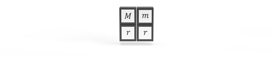 Mass inputs of two bodies M and m, and the distance r squared