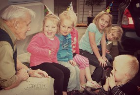 August highlight: Grandad keeping the great-grand-kids entertained on his birthday.
