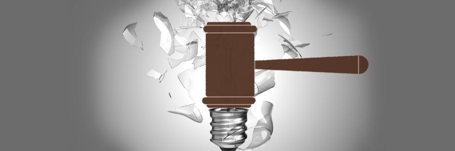 gavel smashing lightbulb