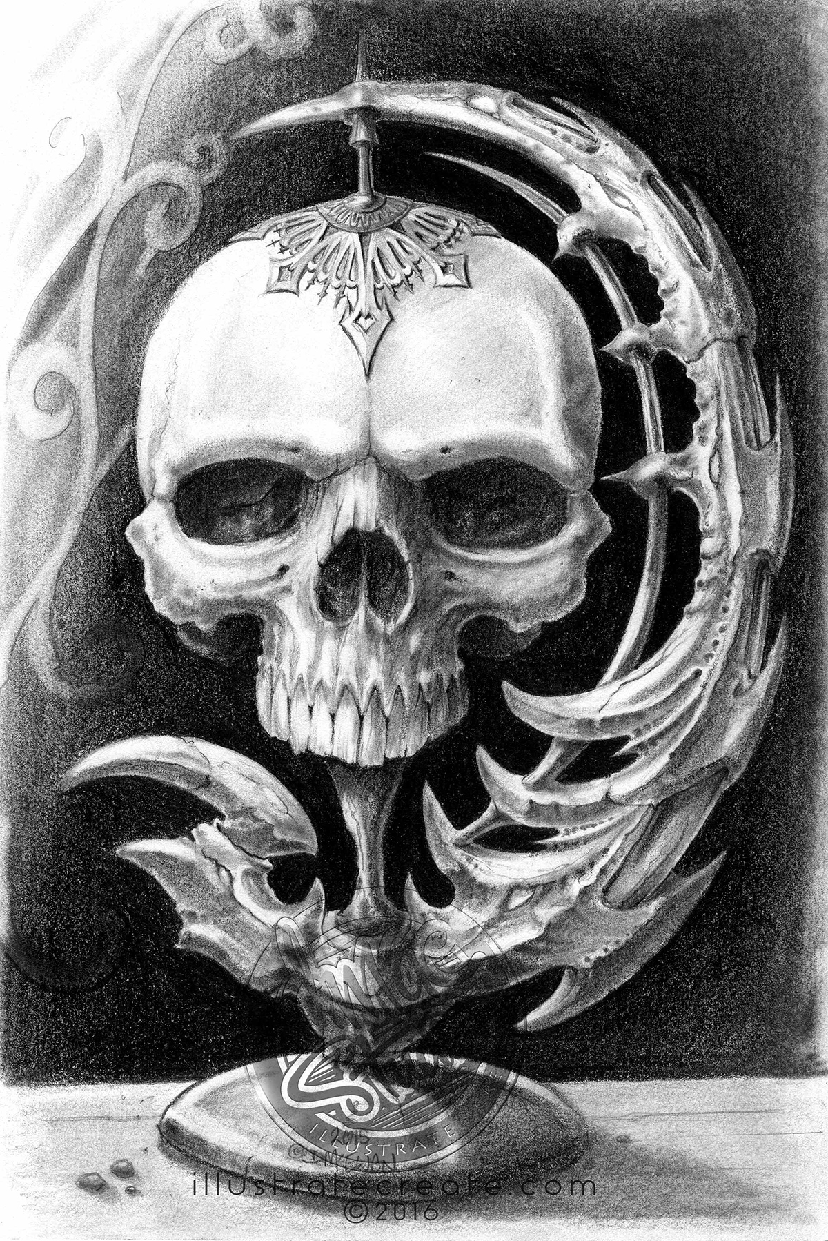 Skull drawing pencil