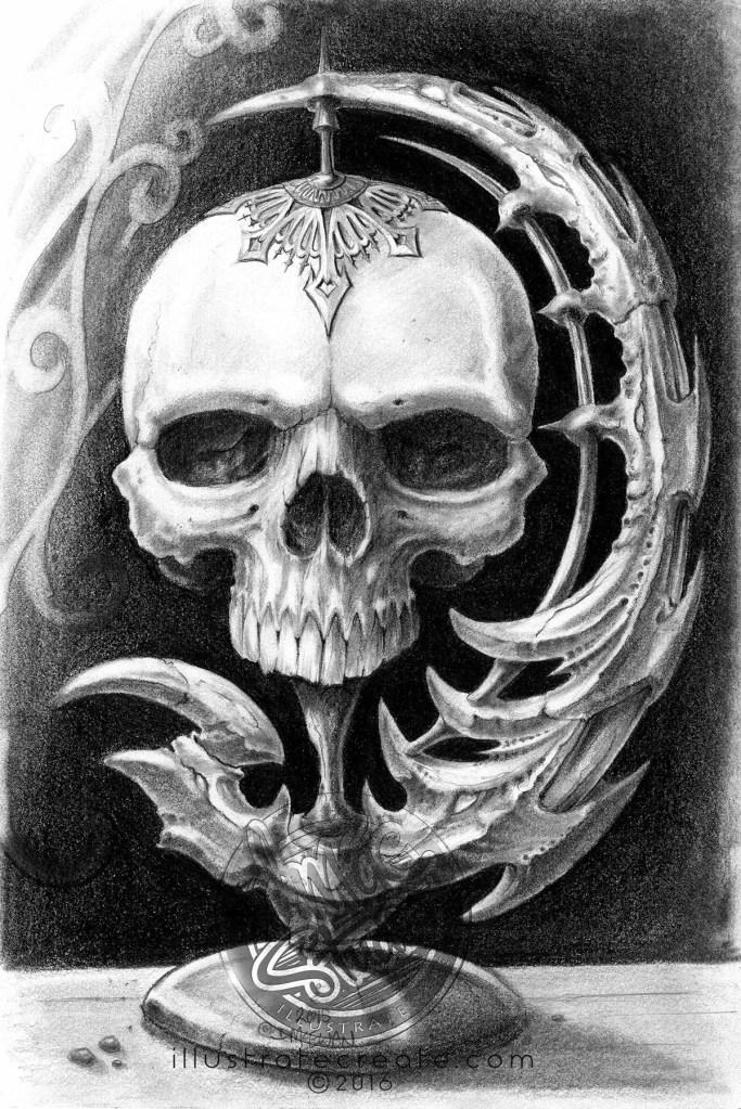 Skull drawing pencil