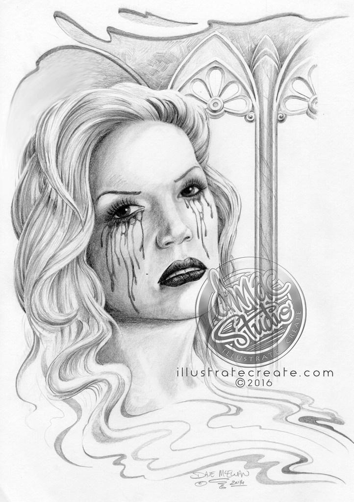 Tears of blood art drawing