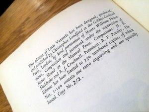 Buckland-Write, Laus Veneris