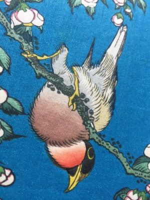 Hokusai, A Bullfinch and a Dropping Cherry Tree