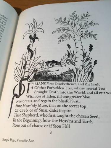 Golden Cockerel Press Prospectus 1930, Paradise Lost, Eric Gill
