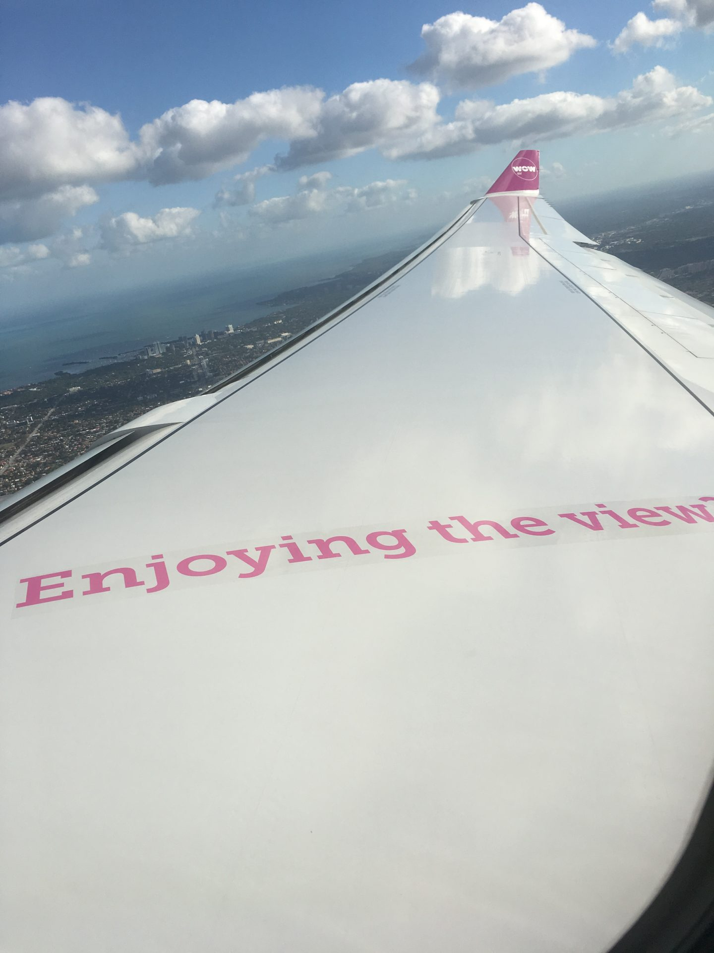 Illustrated by Sade - Photo of the airplane wing while flying on my way traveling from Miami to Iceland.