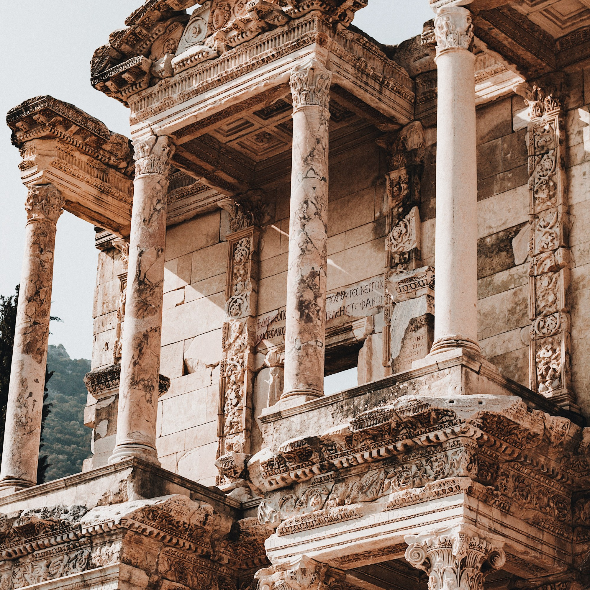 Illustrated by Sade - Facade and pillars of the Library of Celsus