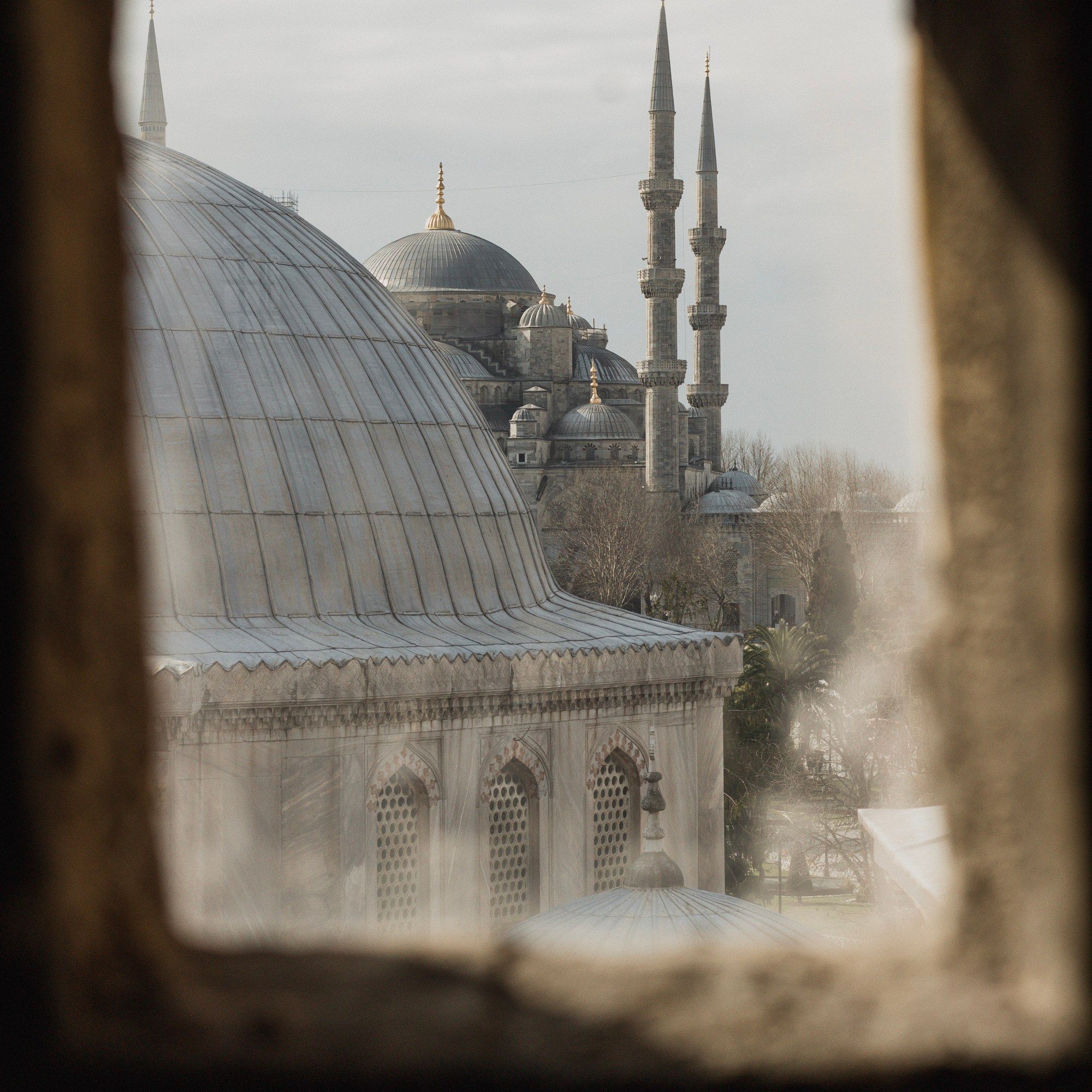 Illustrated by Sade - Window view of the Blue Mosque from inside the Hagia Sophia