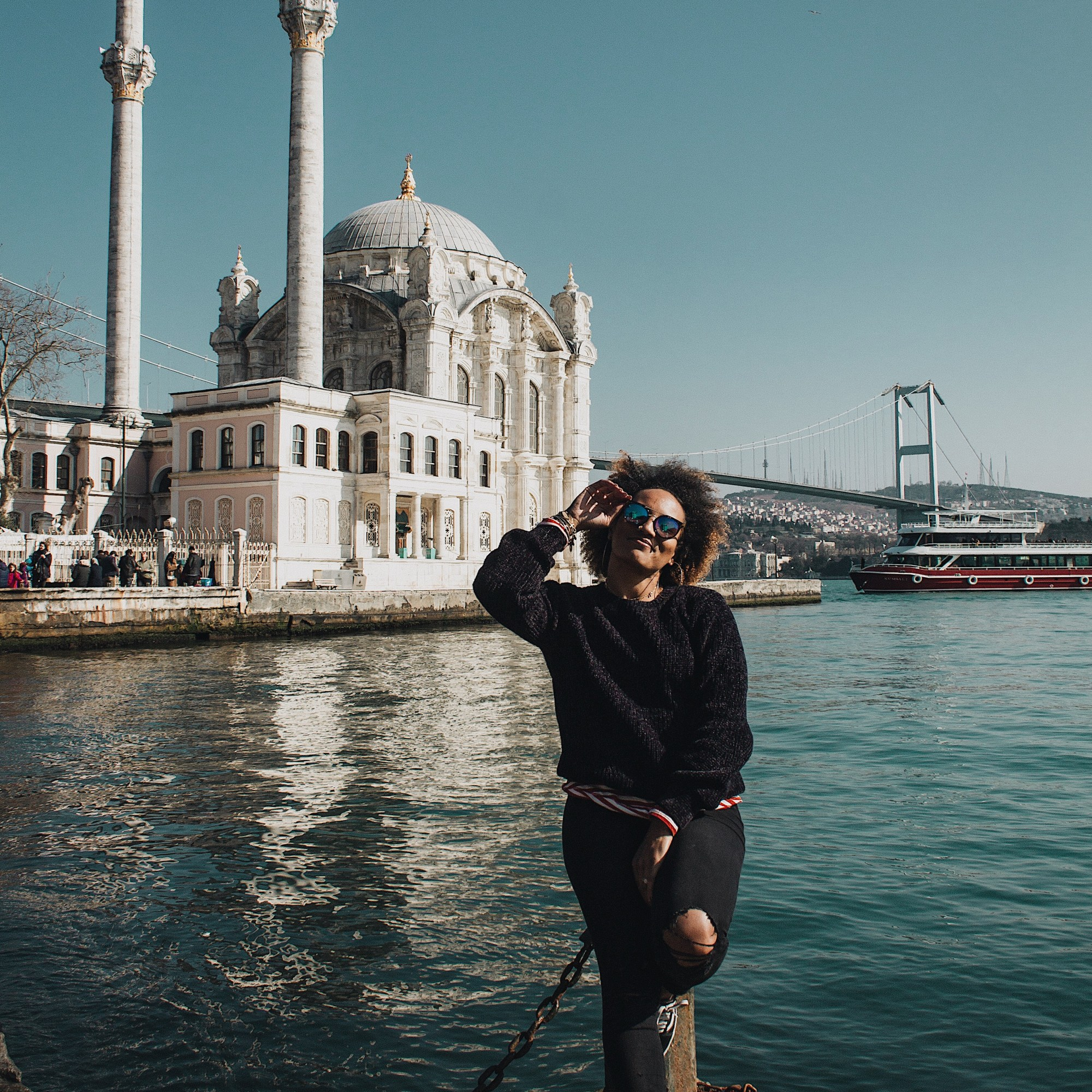 Illustrated by Sade - Photo of me taken in front of the Ortakoy Mosque on the Bosphorus Channel
