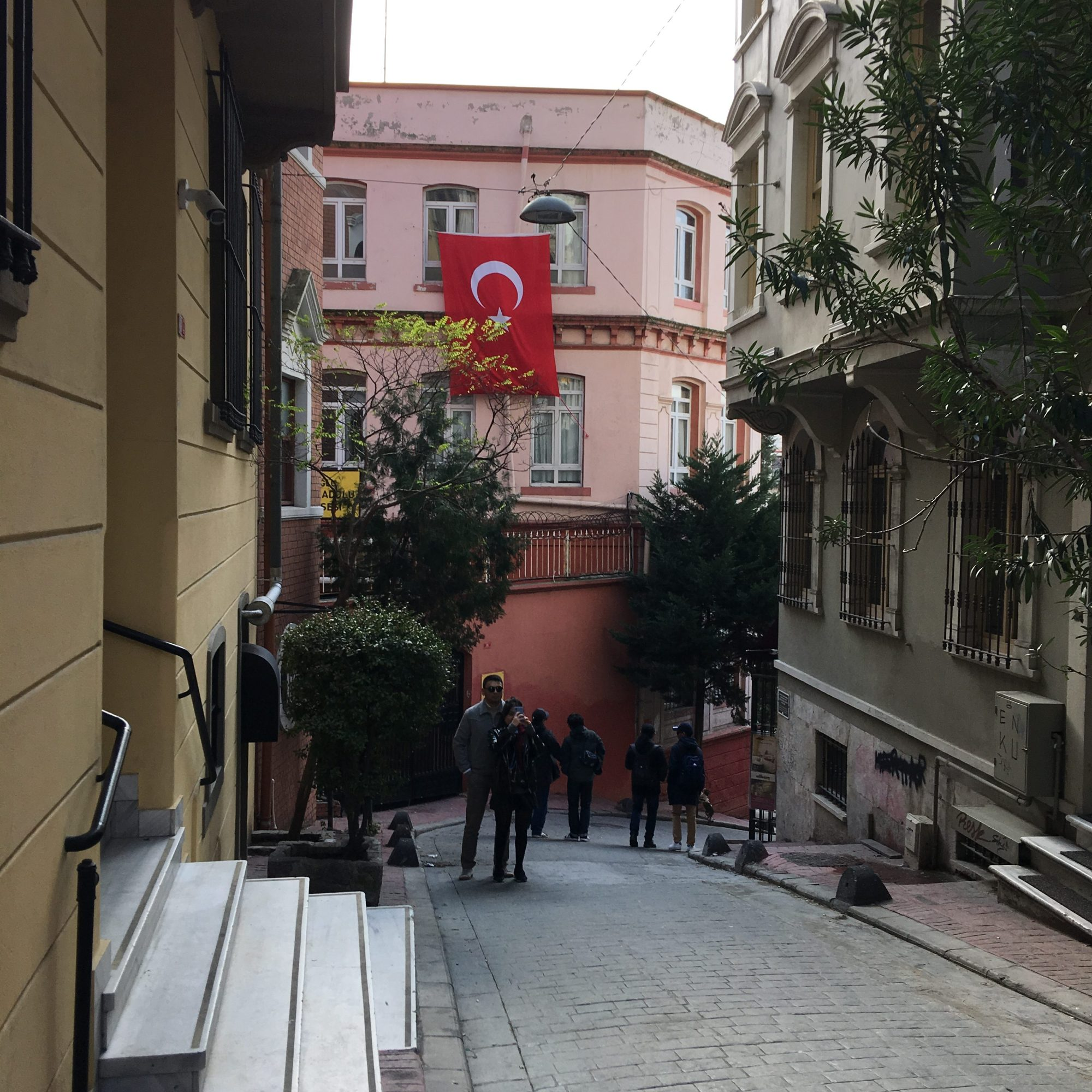 Illustrated by Sade - Street alley way in Galata of pink residential housing and the Turkish flag.