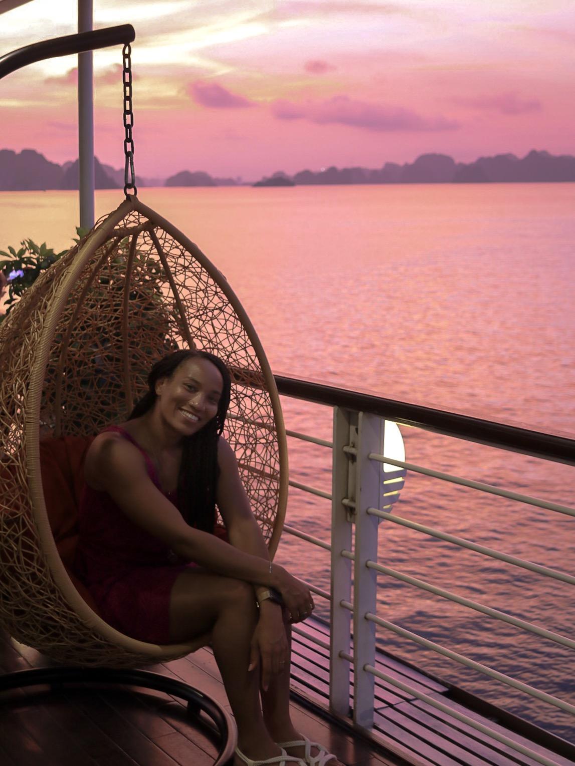 Illustrated by Sade - Sunset while cruising Ha Long Bay, Vietnam