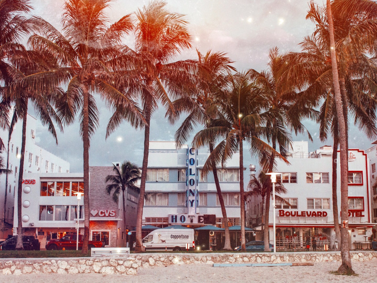 Illustrated by Sade - View of the Colony Hotel on Ocean Avenue, South Beach Miami