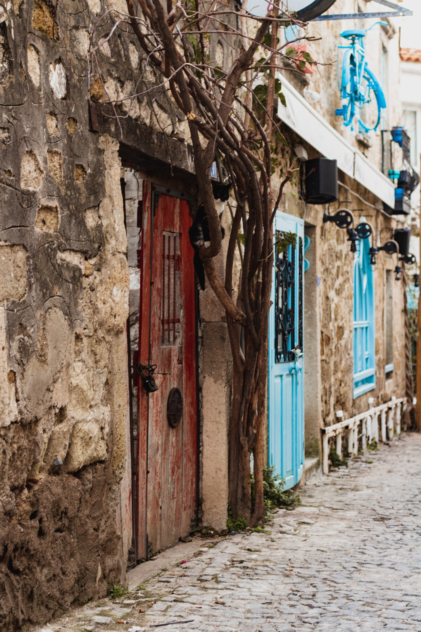 Illustrated by Sade - Cobble stone streets and houses of Alacati, Izmir, Turkey