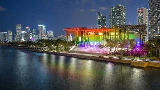 Illustrated by Sade - Photo of Perez Art Museum Miami at Night