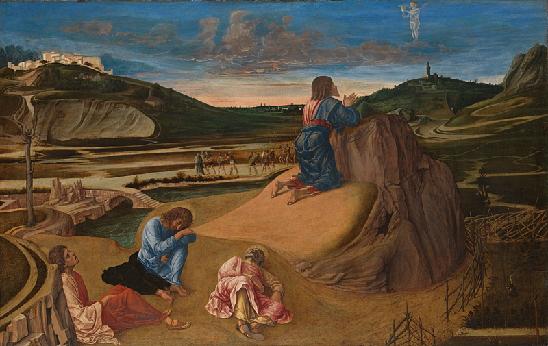 The Agony in the Garden, by Giovanni Bellini, c. 1465. National Gallery, London, United Kingdom. Via IllustratedPrayer.com