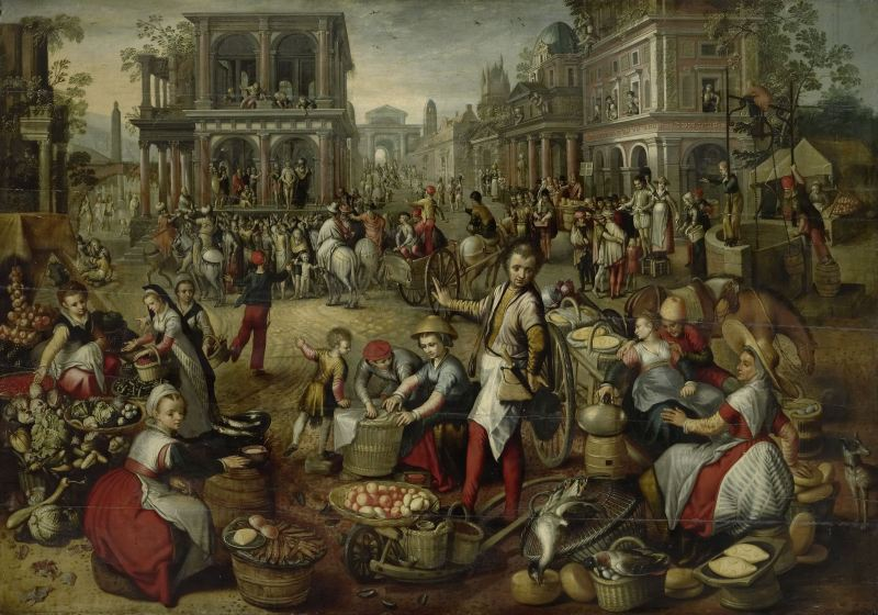 Marketplace, with the Flagellation, the Ecce Homo and the Bearing of the Cross in the background, by Joachim Bueckelaer, c. 1550 - 1590. Rijksmuseum, Amsterdam, Netherlands. Via IllustratedPrayer.com