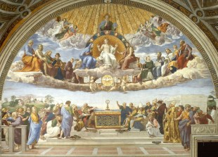 The Disputation of the Holy Sacrament, by Raphael, c. 1509-10. Musei Vaticani, Vatican City. Via IllustratedPrayer.com