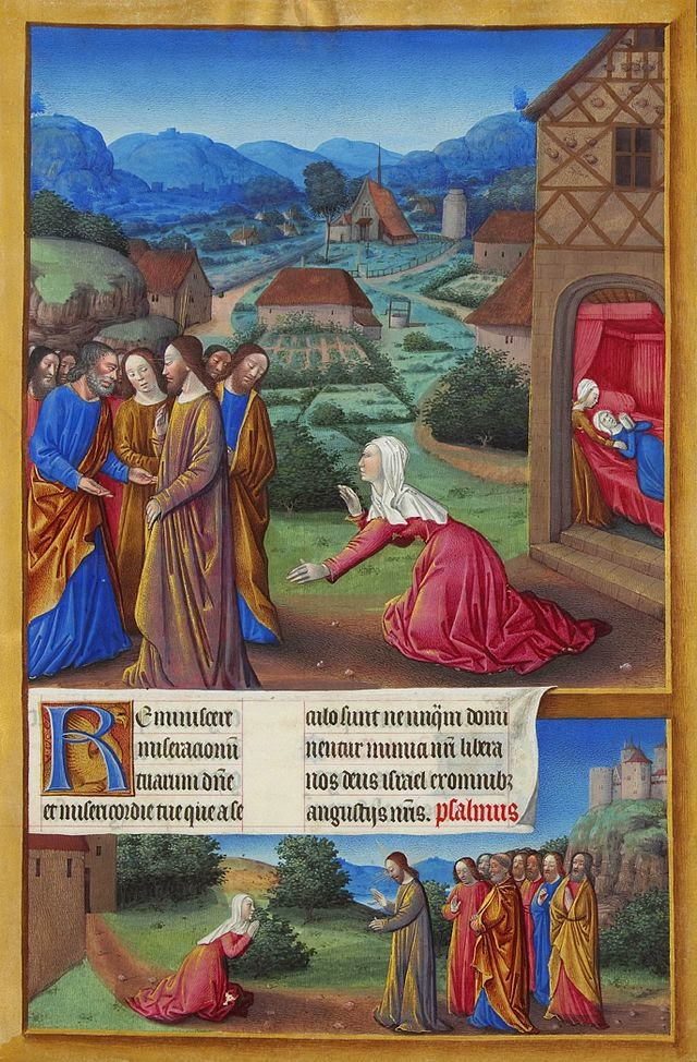 Miracle of the Canaanite Woman, from Tres Riches Heures of the Duke of Berry, by Jean Columbe, c. 1485-89.Musee de Conde, Chantilly, France. Via IllustratedPrayer.com