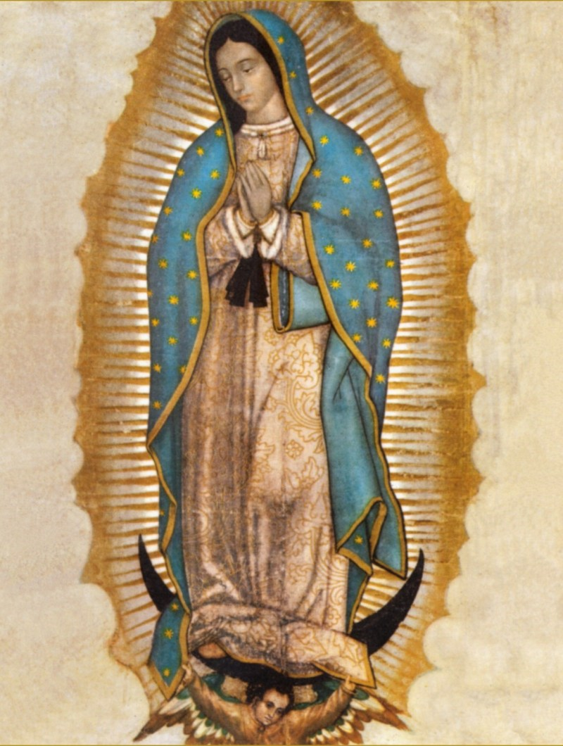 Our Lady of Guadalupe, c. 1531. Basilica of Our Lady of Guadalupe, Tepeyac Hill, Mexico City, Mexico. Via IllustratedPrayer.com