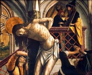 Flagellation, by Michael Pacher, c. 1495-98. Austrian Gallery Belvedere, Vienna, Austria. Via IllustratedPrayer.com