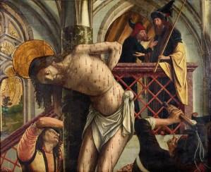 Flagellation of Christ, by Michael Pacher, c. 1495-98. Austrian Gallery Belvedere, Vienna, Austria. Via IllustratedPrayer.com