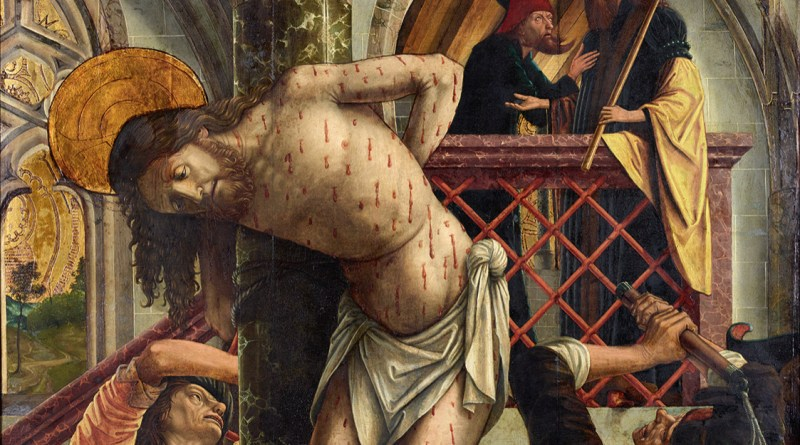 Flagellation of Christ, by Michael Pacher, c. 1495-98. Austrian Gallery Belvedere, Vienna, Austria. Via IllustratedPrayer.com