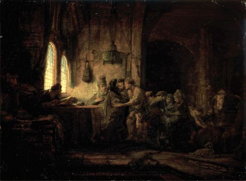 The Parable of the Laborers in the Vineyard, by Rembrandt Harmenszoon van Rijn, c. 1637. State Hermitage Museum, St. Petersburg, Russia.