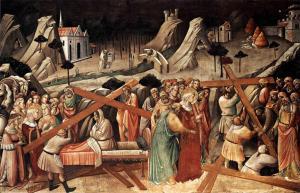 Discovery of the True Cross, by Agnolo Gaddi, c. 1380s. Santa Croche, Florence, Italy. Via IllustratedPrayer.com