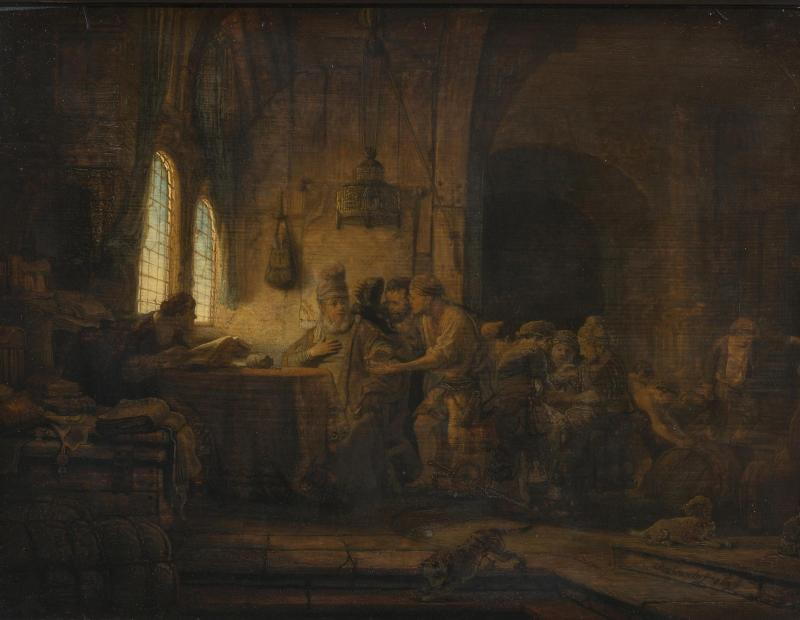 The Parable of the Laborers in the Vineyard, by Rembrandt Harmenszoon van Rijn, c. 1637. State Hermitage Museum, St. Petersburg, Russia. Via IllustratedPrayer.com