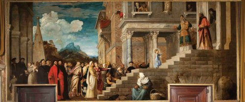 The Presentation of the Virgin Mary in the Temple of Jerusalem, by Titian, c. 1534-38. Gallerie dell'Accademia, Venice, Italy.