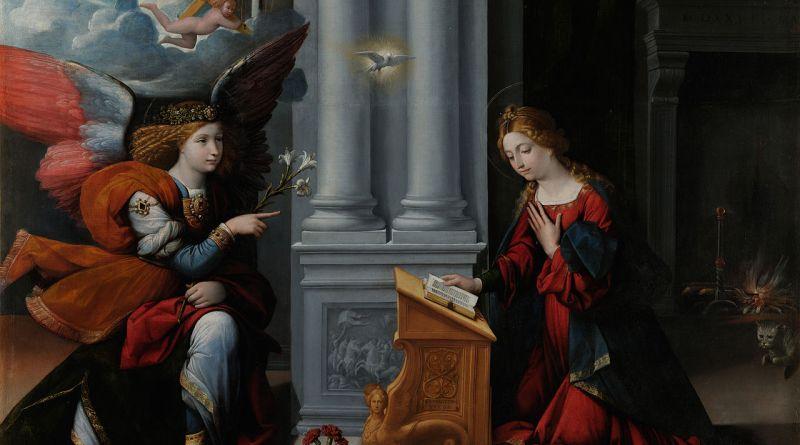 The Annunciation, by Benvenuto Tisi, c. 1528. Musei Capitolini, Rome, Italy. Via IllustratedPrayer.com