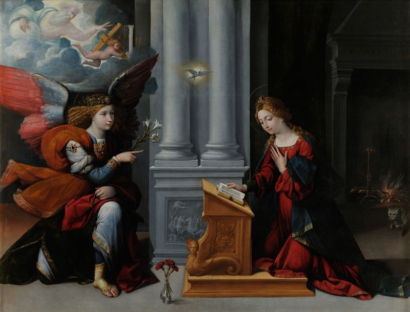 The Annunciation, by Benvenuto Tisi, c. 1528. Musei Capitolini, Rome, Italy. Via IllustratedPrayer.com